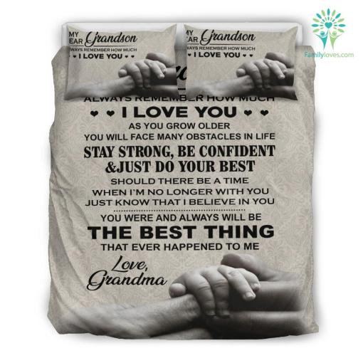 My dear grandson always remember how much I love you Bedding Set Gift %tag familyloves.com