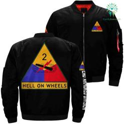 2nd Armored Division hell on wheels over print jacket %tag familyloves.com