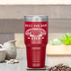 Retro Vintage Best Pug Dad Ever Father's Day Tumbler %tag familyloves.com