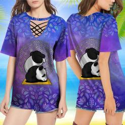 Yoga With Adriene Shirt Panda Bear Zen Yoga Namaste Flower Of Life Sacred Geometry T-Shirt Earth Yoga Shirt %tag familyloves.com