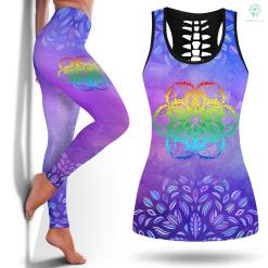 Yoga Leggings White Rainbow Lotus Flower Mandala Yoga Hippie Tattoo Yoga Leggings Maternity Legging And Tanktop %tag familyloves.com