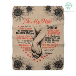 To My Wife Heart Sherpa Fleece Blanket %tag familyloves.com