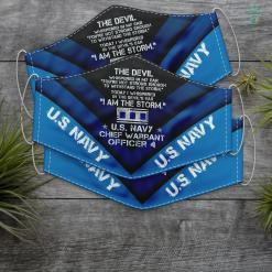 Cap Us Navy I Am The Storm Us Navy W4 Chief Warrant Officer 4 Gifts Men Face Mask Gift %tag familyloves.com