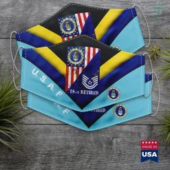 Desert Dental Staffing Retired Air Force Technical Sergeant Half Rank Amp Flag Tee Face Mask Gift %tag familyloves.com