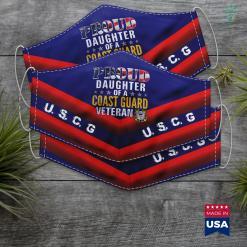 National Coast Guard Proud Daughter Of A Coast Guard Veteran American Flag Gift Face Mask Gift %tag familyloves.com