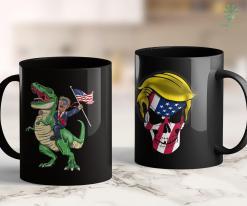 Pro Trump Merchandise T Rex Dinosaur With Trump American Flag For Patriot 11oz Coffee Mug %tag familyloves.com