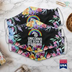 September Birthstone Unicorns Are Born In September Birthday Rainbow Gift Face Mask Gift %tag familyloves.com
