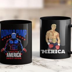 Trump 2020 Keychain Donald Pump Swole America Trump Weight Lifting Gym Fitness 11oz Coffee Mug %tag familyloves.com