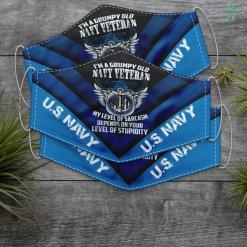 Us Navy Throw Pillow Mens Im A Grumpy Old Navy Veteran Veteran Gift Us Flag Tee Face Mask Gift %tag familyloves.com