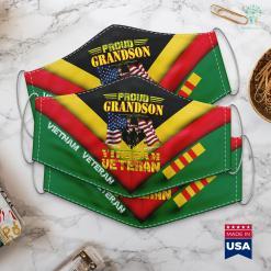 Veterans Clothing Proud Grandson Of A Vietnam Veteran Gift For Veteran Face Mask Gift %tag familyloves.com