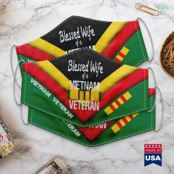 Veterans For America Blessed Wife Of A Vietnam Veteran Military Family Face Mask Gift %tag familyloves.com