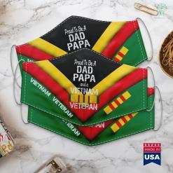 Vietnam Background Proud Dad Papa Vietnam Veteran Vintage Vet Tee Face Mask Gift %tag familyloves.com