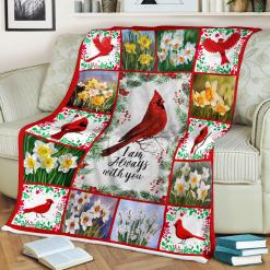 Red Birds I Am Always with You Cardinal Sherpa Fleece Blanket  %tag familyloves.com