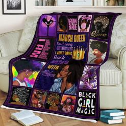 March Queen Black Girl Magic Sherpa Fleece Blanket %tag familyloves.com