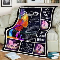 To My Daughter - From Mom Sherpa Fleece Blanket %tag familyloves.com