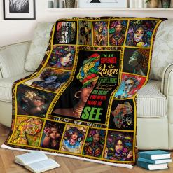 I Have 3 Sides - Black Woman September Queen Sherpa Fleece Blanket %tag familyloves.com
