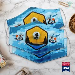 Fly Fishing Gifts Bigfoot Fishing Funny Sasquatch And Fish Night Fishing Cloth Face Mask Gift %tag familyloves.com