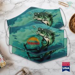 Wi Fishing Reports Muskie Fishing Retro Musky Fisherman Treeline Sunset Gift Cloth Face Mask Gift %tag familyloves.com