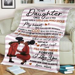 To My Daughter Once Upon A Time There Was A Black Girl Love Mom Sherpa Fleece Blanket %tag familyloves.com