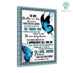 To My Mother-In-Law While My Love For Your Son Has Grown Love Your Daughter-In-Law Canvas %tag familyloves.com