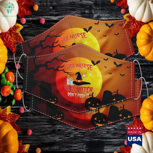 51 Nurse 49 Witch Womens Mens Halloween Nurses Halloween Yard Decorations Cloth Face Mask Gift %tag familyloves.com