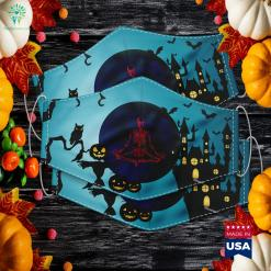 Halloween Meditating Skeleton Funny Freaky Yoga Gift Halloween Flamingos Cloth Face Mask Gift %tag familyloves.com