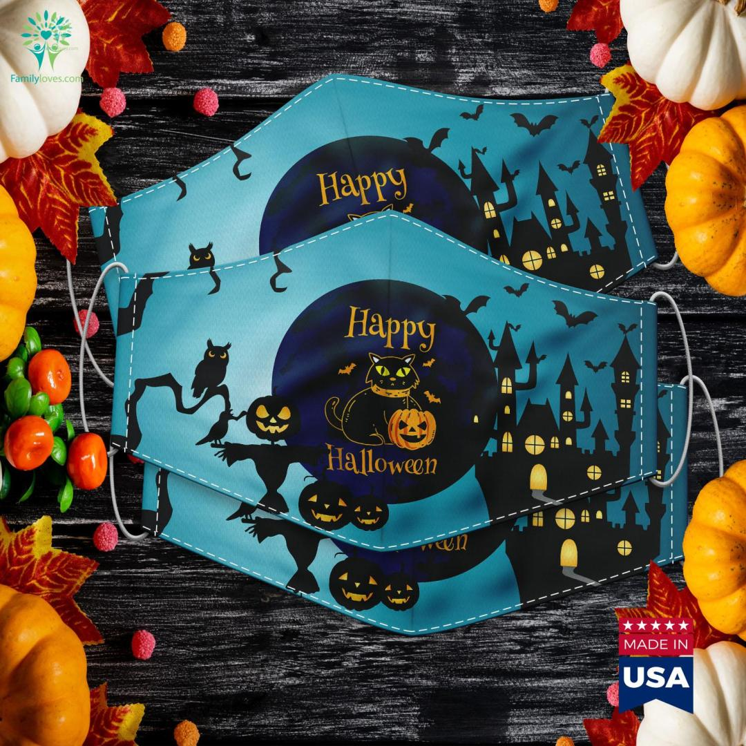 Happy Halloween Cat Pumpkin Halloe Cloth Face Mask Gift %tag familyloves.com