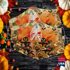 Pizza Skeleton Xray Halloween Pregnancy Soon To Be Dad Halloween Pajamas Cloth Face Mask Gift %tag familyloves.com