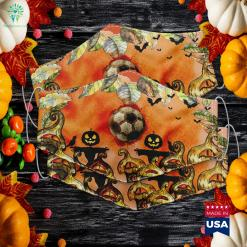 Soccer Lovers Halloween Scary Art Ball And Blood Around Fun Premium Halloween Words Cloth Face Mask Gift %tag familyloves.com