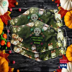 Teacher Skull Halloween Day Of The Dead Dia De Los Ladies Halloween Costumes Cloth Face Mask Gift %tag familyloves.com