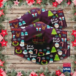 Vintage Ceramic Christmas Tree Buffalo Plaid Camp Trailer Merry Christmas With Xmas Tree Raglan Cloth Face Mask Gift %tag familyloves.com