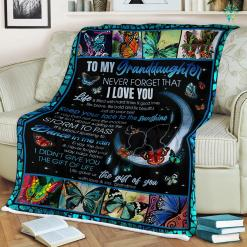 Butterfly To My Granddaughter Never Forget That I Love Grandma Sherpa Fleece Blanket %tag familyloves.com