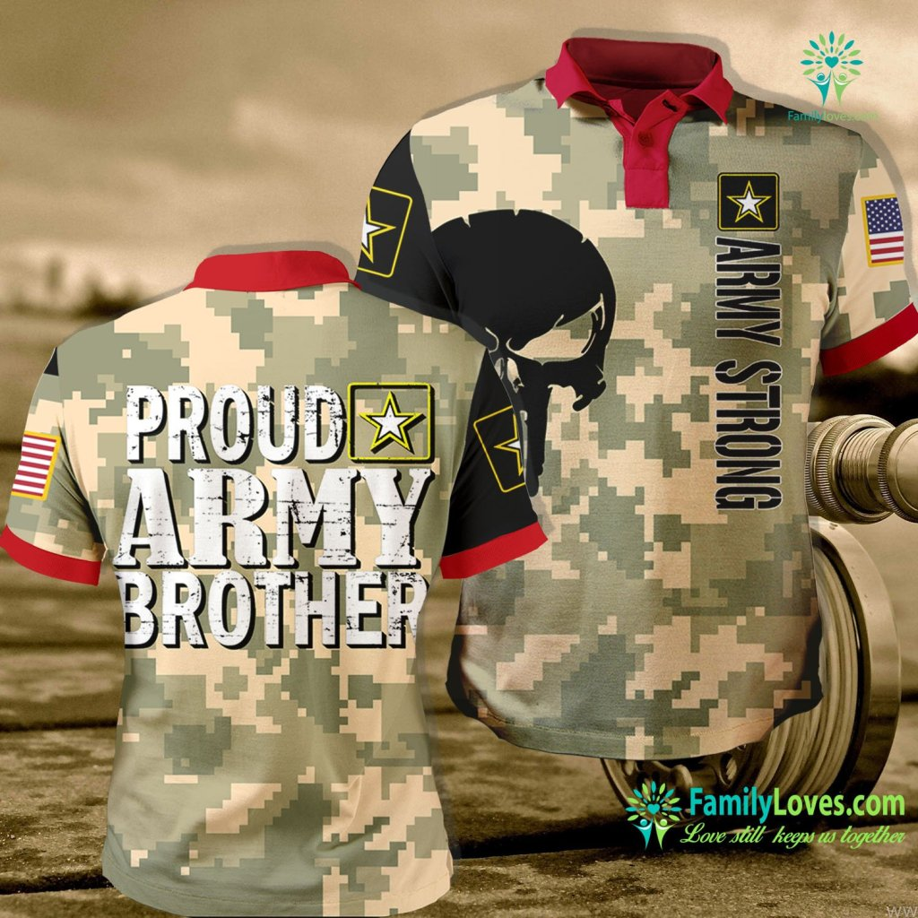 Military Tactical Shirts Army Brother Proud Army Brother Army Polo Shirt All Over Print Familyloves.com