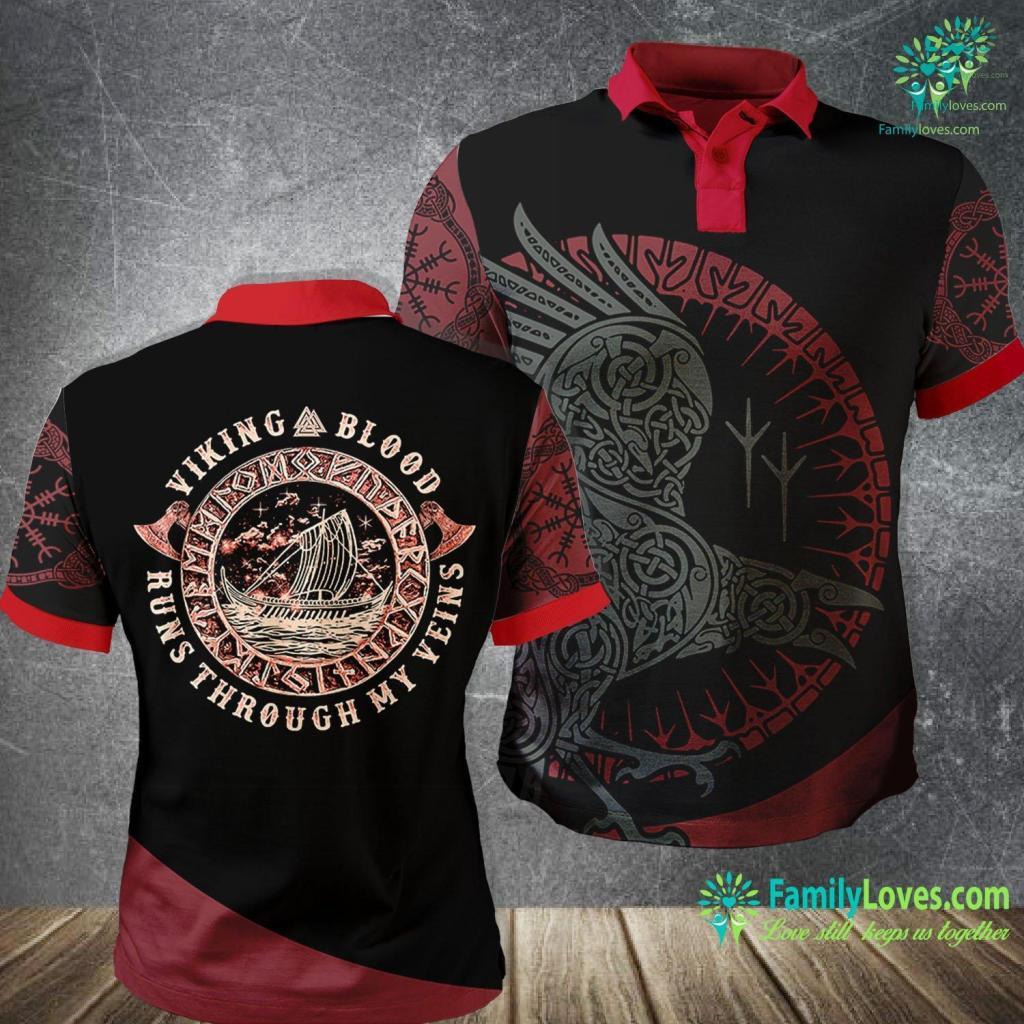 Ivar Lothbrok Viking Blood Runs Through My Veins Viking Circle Viking Polo Shirt All Over Print Familyloves.com