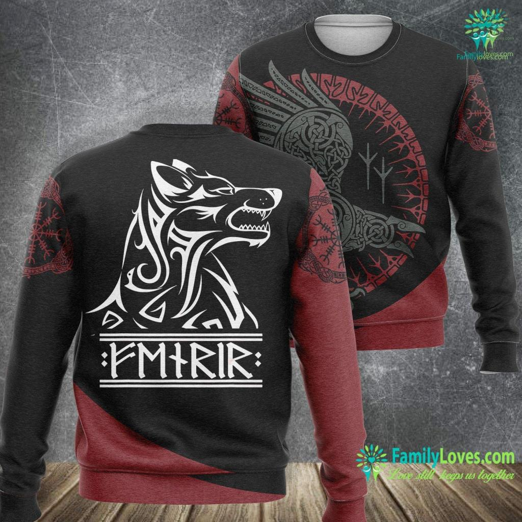 Norse Necklace Viking Fenrir Wolf Chains Kills Odin In Ragnarok Viking Sweatshirt All Over Print Familyloves.com