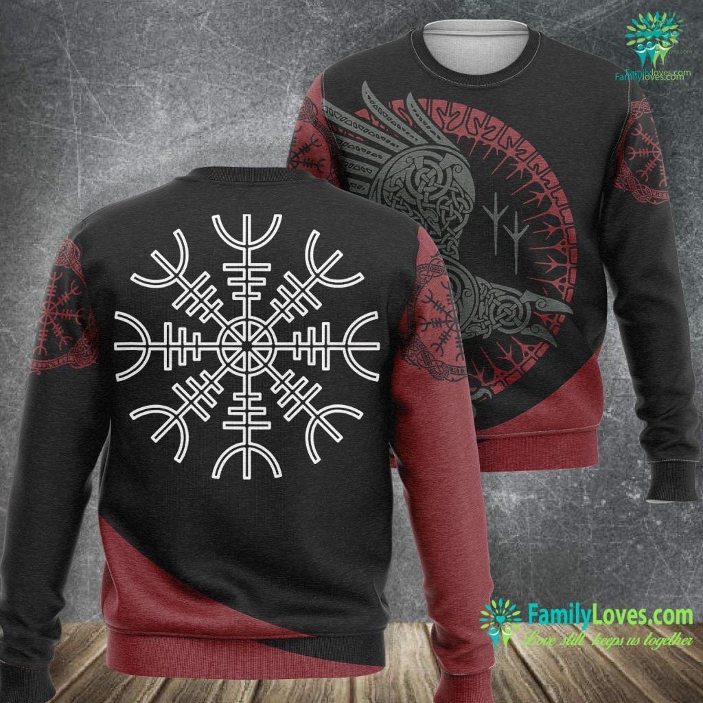 Odin Viking God Vegvisir Viking Compass Symbol Norse Culture Muninn Huginn Viking Sweatshirt All Over Print Familyloves.com