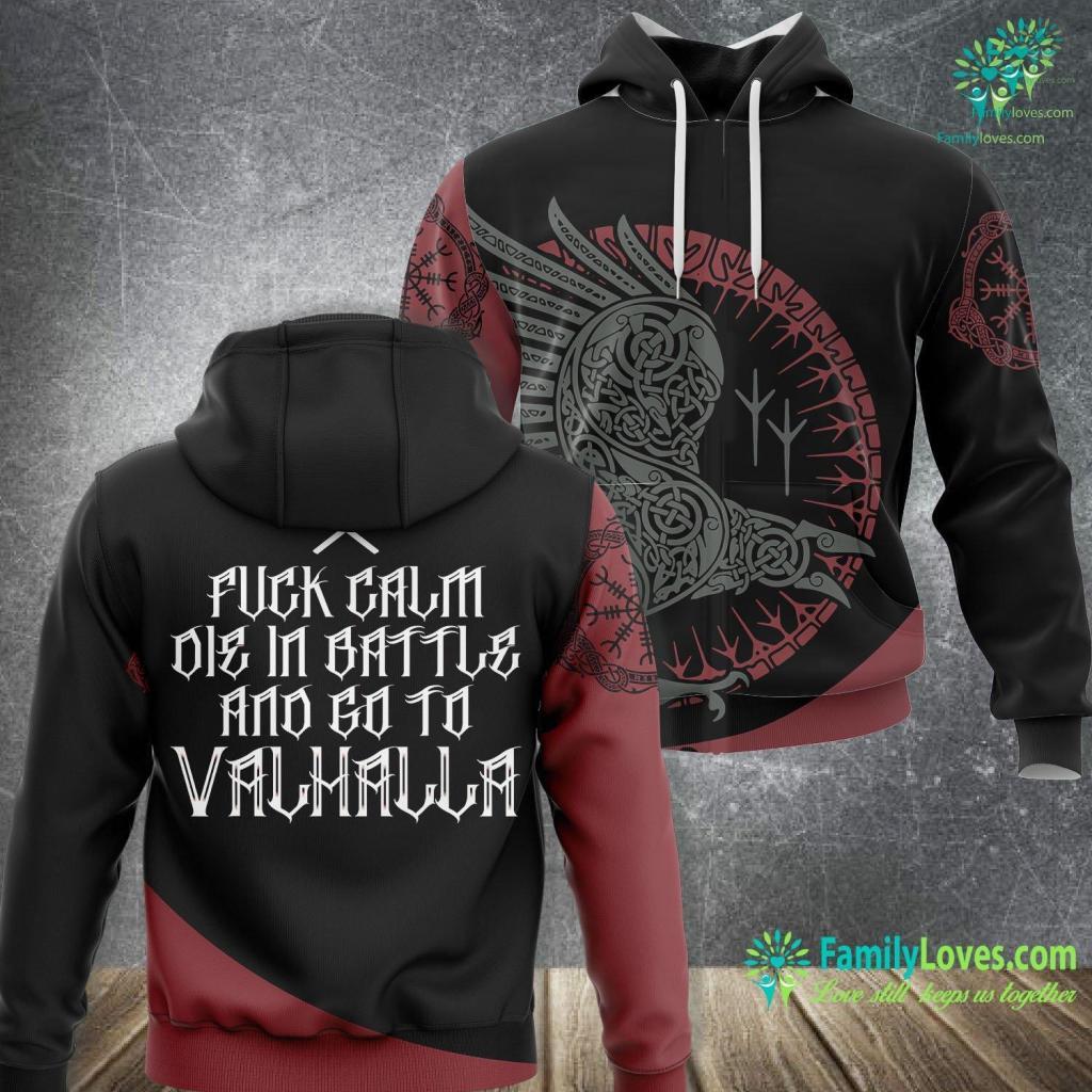 Ragnar Lothbrok Hair Viking Valhalla Battle Axes Calm Viking Unisex Hoodie All Over Print Familyloves.com
