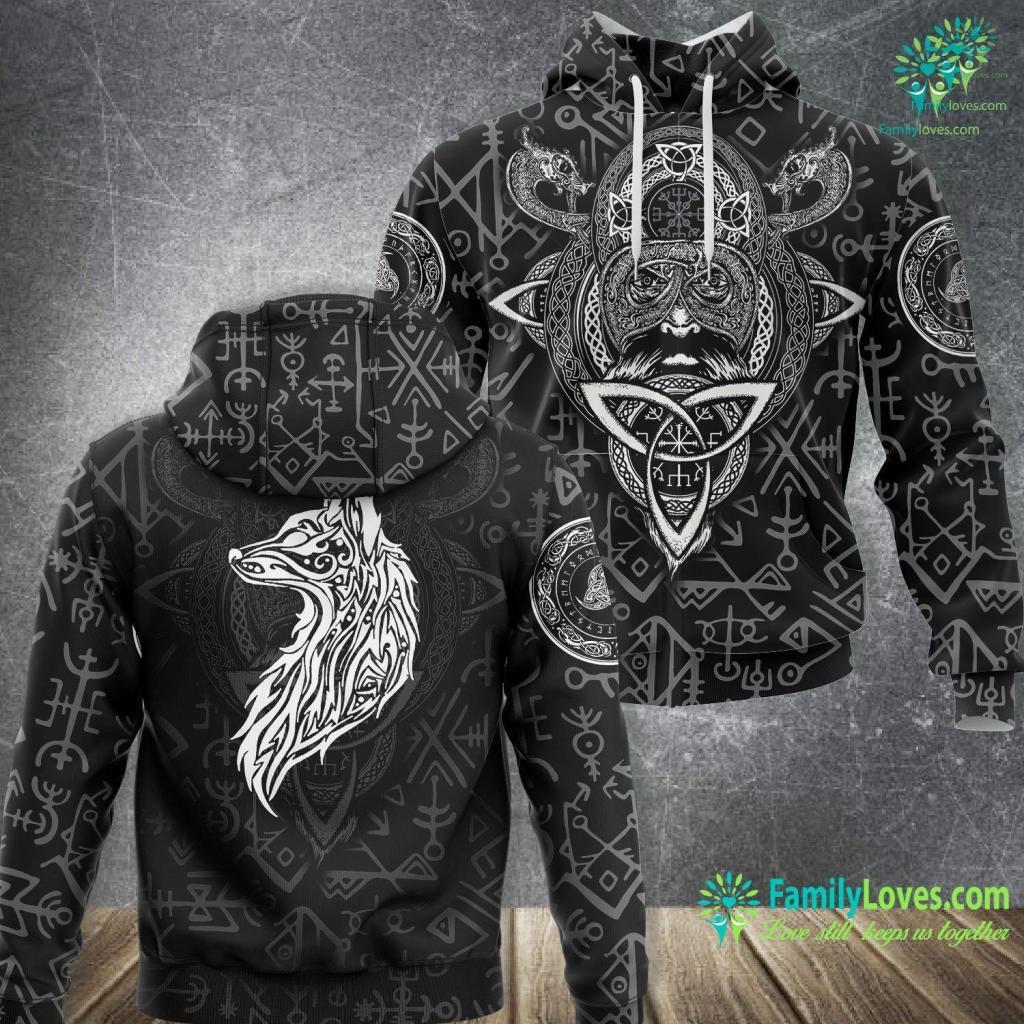 Ragnar Vikings Fire Fenrir Wolf Odin Nordic Valhalla Viking Mjolnir Viking Unisex Hoodie All Over Print Familyloves.com