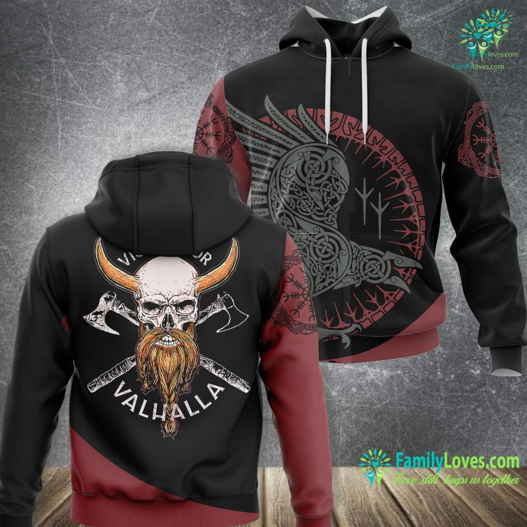 Rune Symbol Meanings Victory Or Valhalla Odin Viking Skull For Norse Mythology Viking Unisex Hoodie All Over Print Familyloves.com