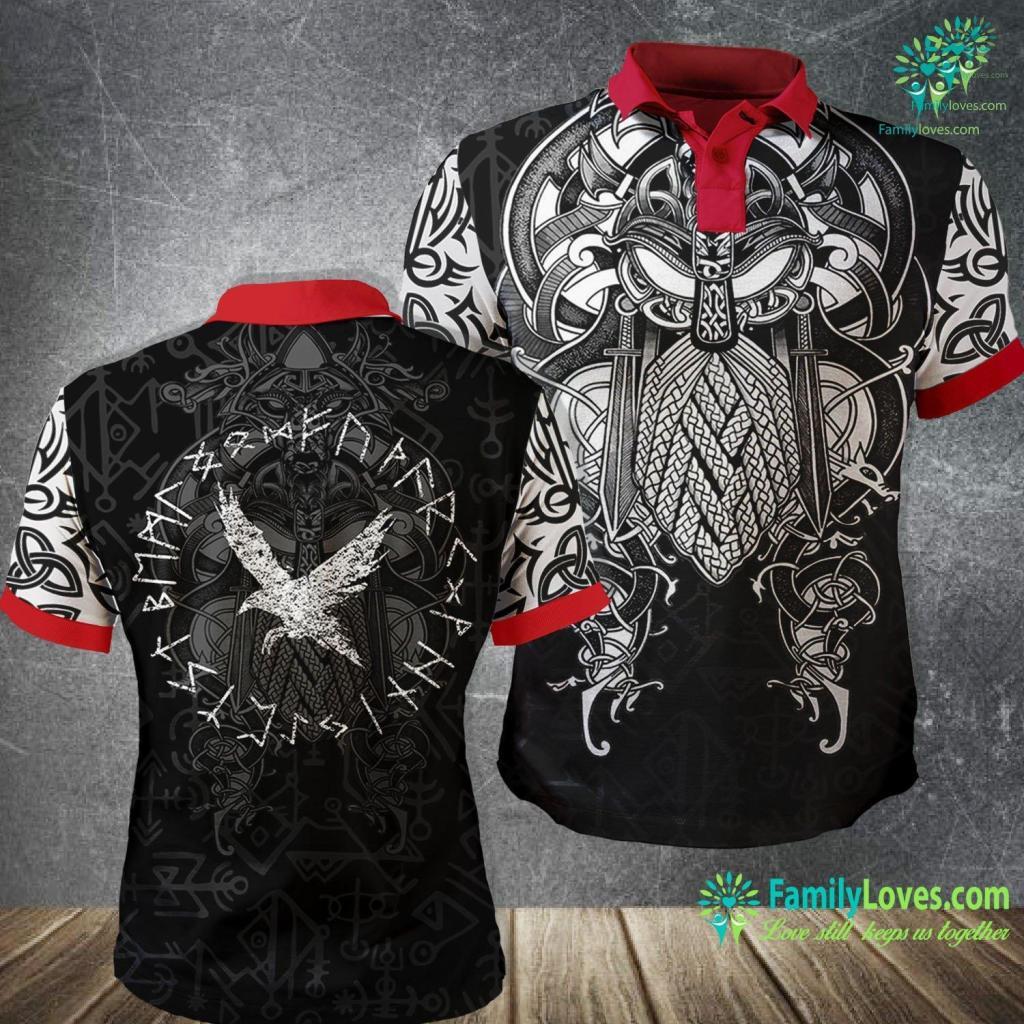 Runic Language Raven And Rune Distressed Vikings Norse Mythology Viking Polo Shirt All Over Print Familyloves.com