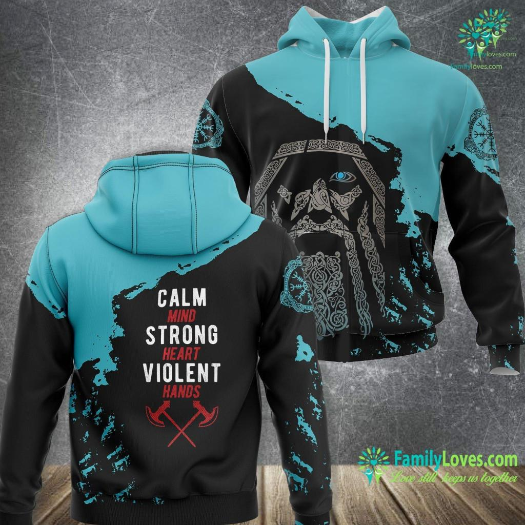 Silver Serpent Ring Calm Mind Strong Heart Violent Hands Viking Viking Unisex Hoodie All Over Print Familyloves.com