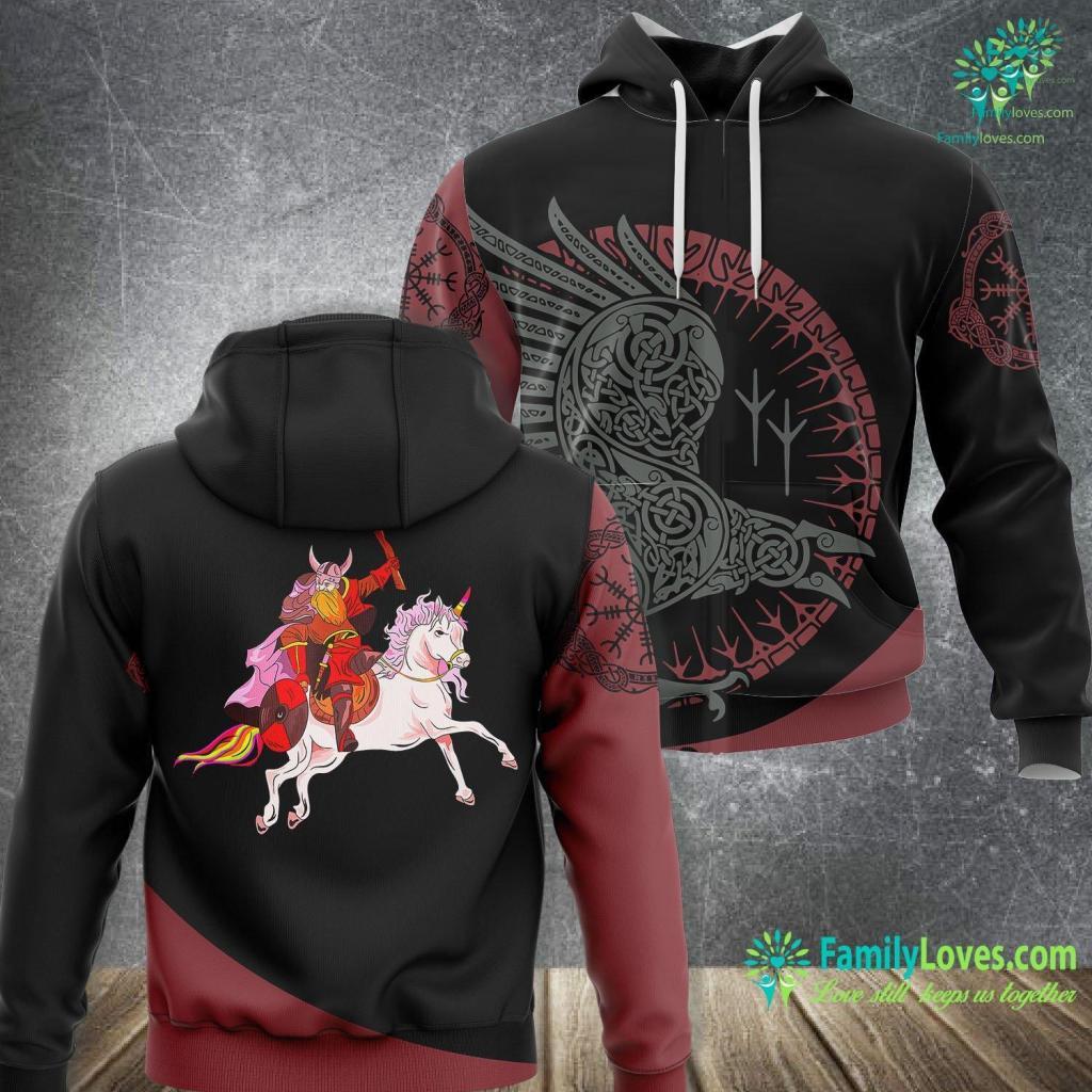 Viking Battle Viking Riding A Unicorn Viking Unisex Hoodie All Over Print Familyloves.com