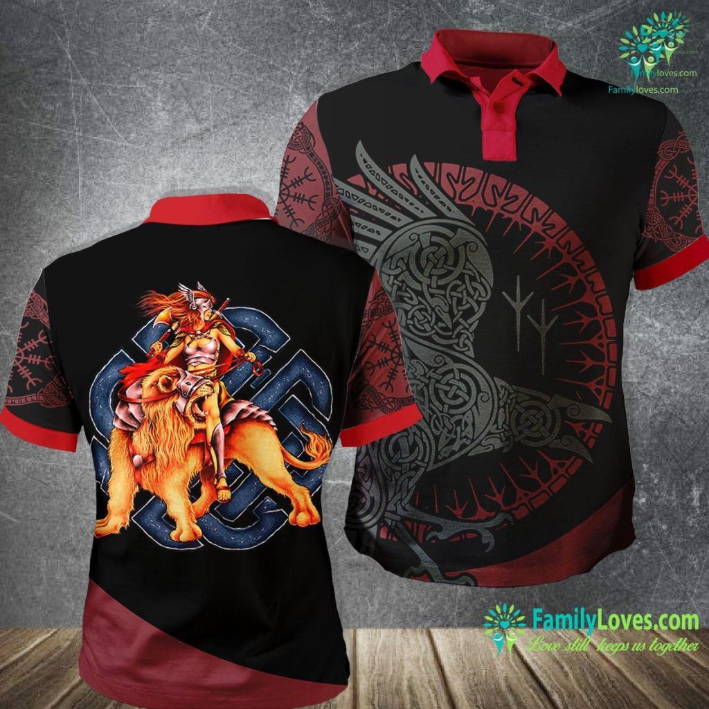 Viking Beard Oil Women Viking Warrior Queen On Lion Norse Viking Premium Viking Polo Shirt All Over Print Familyloves.com
