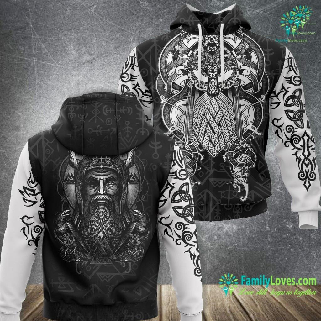 Viking Cues Odin Viking Norse God Huginn Amp Muninn Ravens Viking Unisex Hoodie All Over Print Familyloves.com