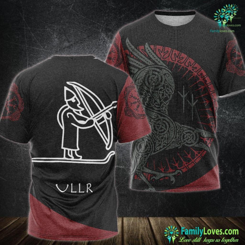 Viking Dress Ullr Viking Rune Drawing Ski Hunting Men Women Kids Viking Unisex Tshirt All Over Print Familyloves.com
