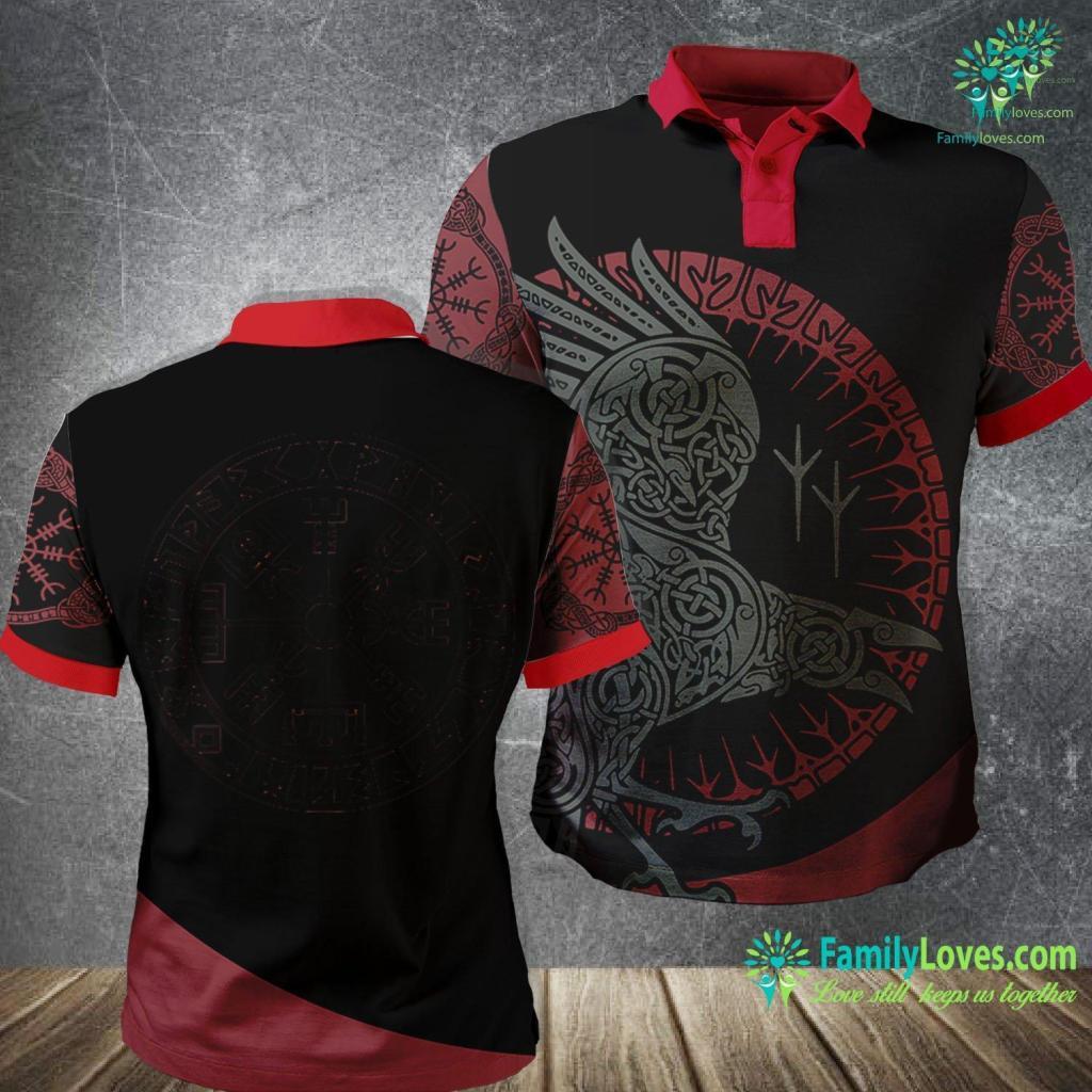 Viking Gifts Vegvisir Vikings Norse Protection Odin Thor Celtic Viking Polo Shirt All Over Print Familyloves.com