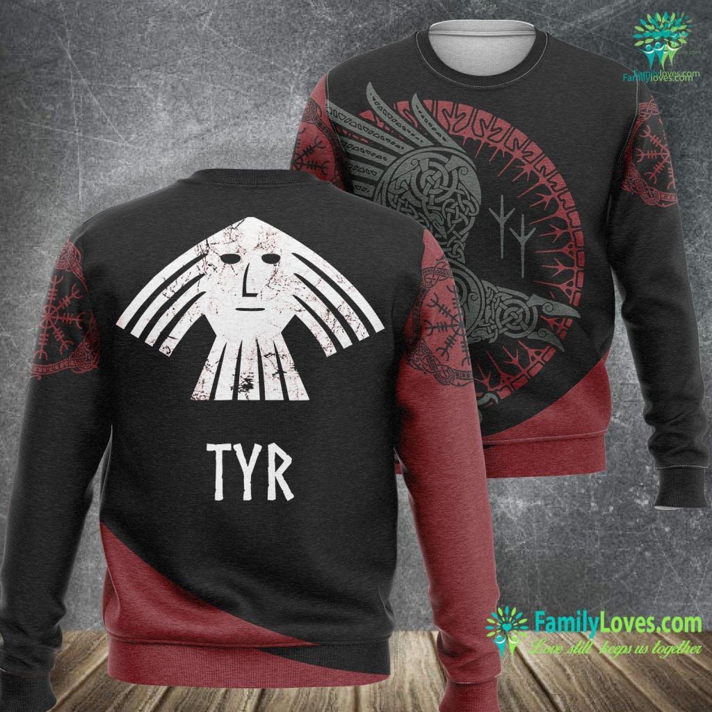 Viking Shield Tyr Norse Viking God Vintage Distressed Men Women Ki Viking Sweatshirt All Over Print Familyloves.com