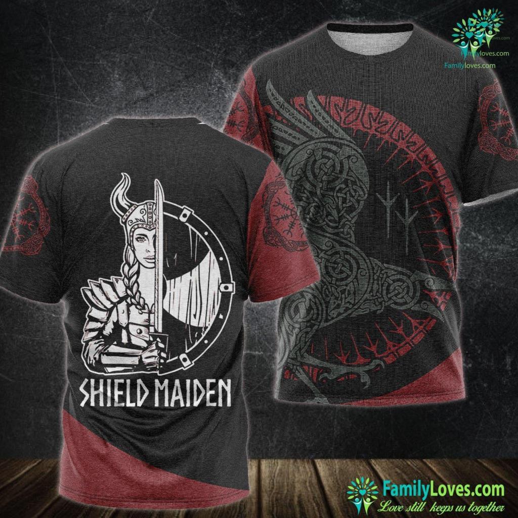 Viking Signs Women Shield Maiden Tee Girl Viking Viking Unisex Tshirt All Over Print Familyloves.com