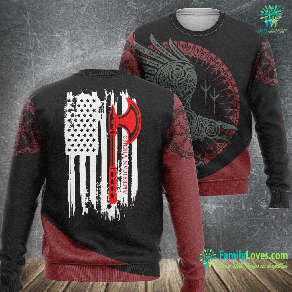 Viking T Shirt Vintage American Viking Usa Flag Gift S Viking Sweatshirt All Over Print Familyloves.com