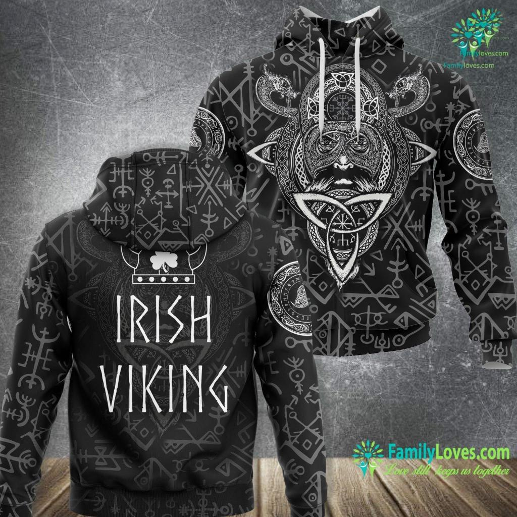 Where Are Vikings From Irish Viking St Patrick S Day Viking Helmet Scandi Viking Unisex Hoodie All Over Print Familyloves.com